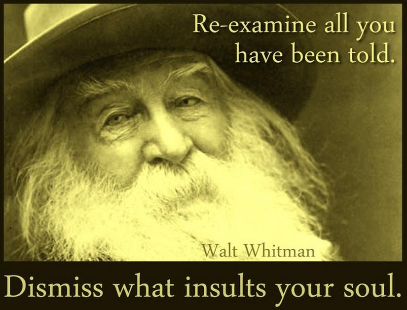 Walt whitman dismiss what insults your soul